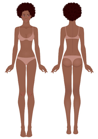 Young african woman's body template: front and back Illustration