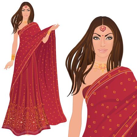 Mujer india hermosa vistiendo traje de novia en blanco Ilustración de vector