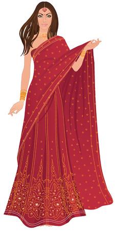 Belle femme indienne portant costume de mariée sur fond blanc Banque d'images - 24587549