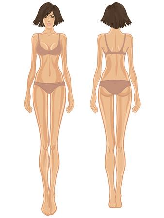 De jonge Europese vrouw lichaam sjabloon: voor- en achterkant.