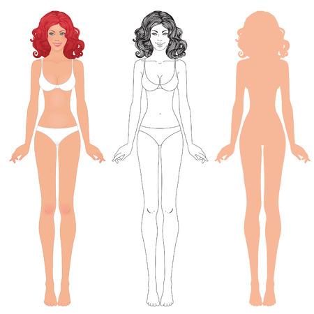 De jonge Europese vrouw lichaam sjabloon: voor-en achterkant. Stock Illustratie