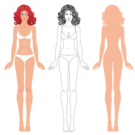 Young european womans body template: front and back.