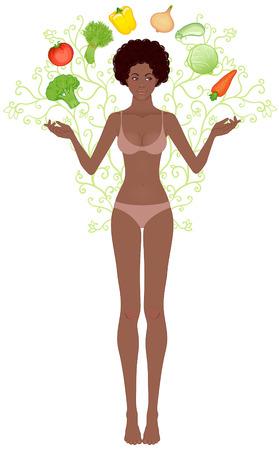 Beautiful african american girl juggling vegetables  Vector
