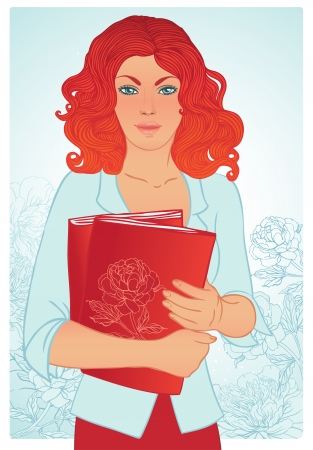 Young teenage redhead girl holding books. Vector illustration.