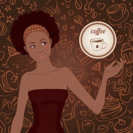 Beautiful african american girl with coffee scribble background Vector