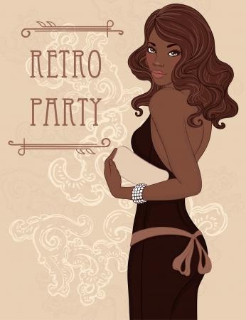 클러치: 레트로 파티 초대장 디자인 (이브닝 드레스를 들고 클러치의 매력 아프리카 계 미국인 여성). 벡터 일러스트 레이 션.