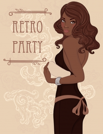 african woman face: Retro party invitation design (Glamour african american lady in evening dress holding clutch). Vector illustration.