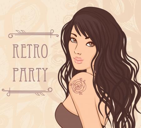 갈색 머리: 레트로 파티 초대장 디자인 (그녀의 어깨에 장미 문신 매력적인 아가씨). 벡터 일러스트 레이 션. 일러스트