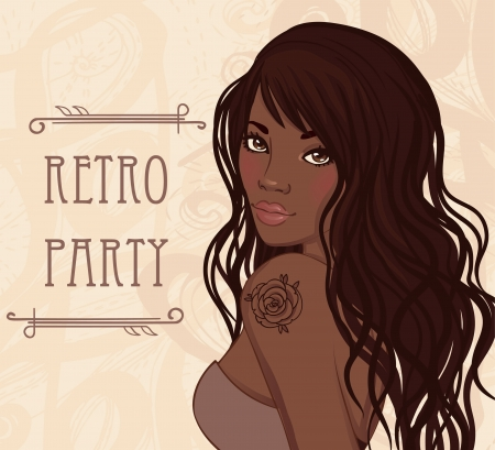 Retro party invitation design (Glamour african american lady with rose tattoo on her shoulder). Vector illustration.