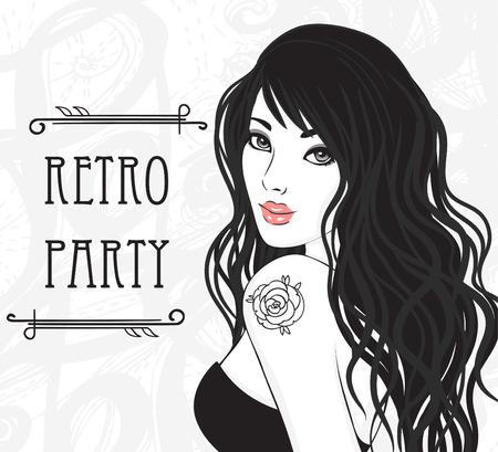 брюнет: Ретро дизайн приглашение партия (Гламур дама с розовым татуировкой на плече). Векторная иллюстрация.