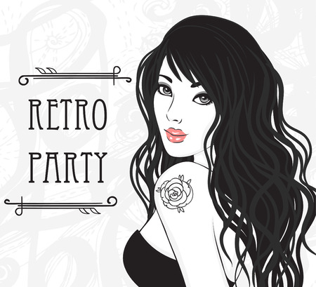 her: Retro party invitation design (Glamour lady with rose tattoo on her shoulder). Vector illustration.