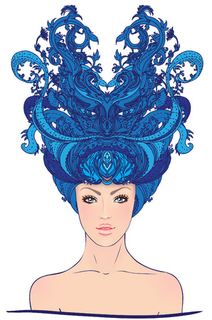 snow queen: Snow Queen: Young woman with  a magic hat Illustration