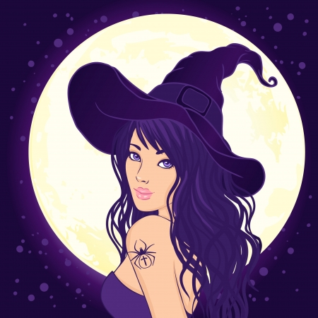 Halloween illustration: young pretty witch with a magic hat