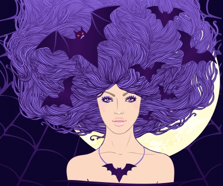 flying hat: Halloween illustration  young pretty witch with flying bats in her long beautiful hair  Illustration