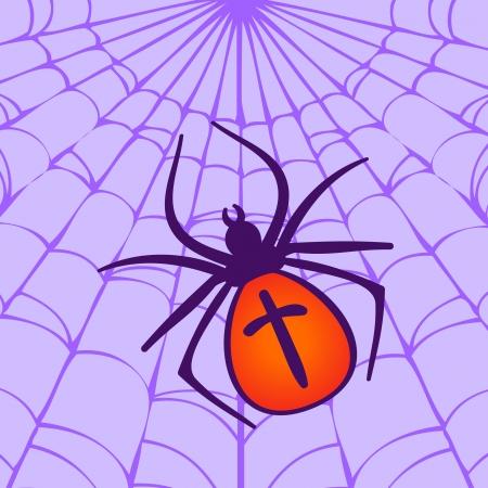 Halloween illustration: Spider hanging on his web