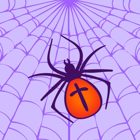 spidery: Halloween illustration: Spider hanging on his web