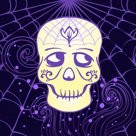 Halloween illustration: Sugar Skull design element in vector Illustration