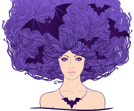 fantasy woman: Halloween illustration: young pretty witch with flying bats in her long beautiful hair