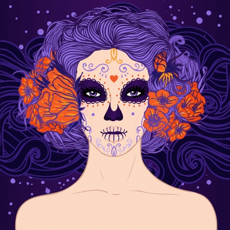 mexican culture: Young pretty Mexican Sugar Skull girl with flowers in her hair and scary makeup for Day of the Dead (Dia de los Muertos) or Halloween Illustration