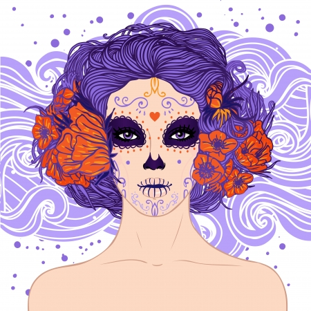 Young pretty Mexican Sugar Skull girl with flowers in her hair and scary makeup for Day of the Dead  Dia de los Muertos  or Halloween Vector