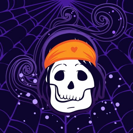 Halloween illustration  Pirate Skull Captain with Hat  Vector