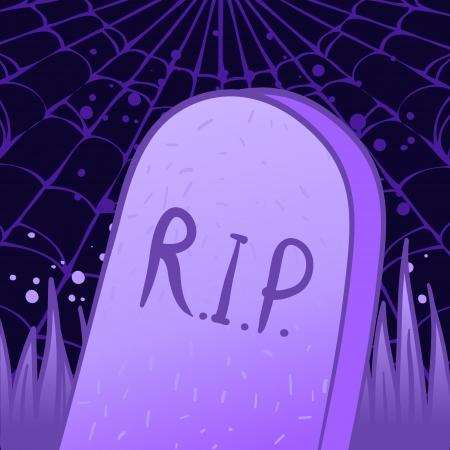 undertaker: Halloween illustration: night tombstone