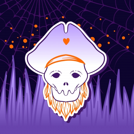 springe: Halloween illustration: Pirate Skull Captain with Hat  Illustration