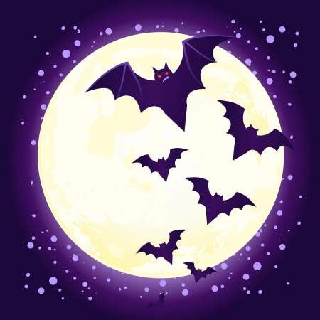 Halloween illustration: cute vector bat flying against full moon  Vector