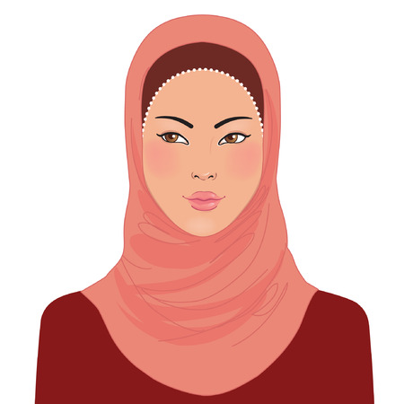 Portrait of muslim oriental beautiful girl in hijab, vector illustration  Vector