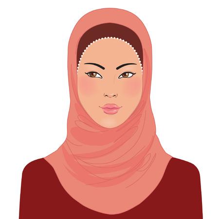 Portrait of muslim oriental beautiful girl in hijab, vector illustration