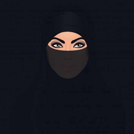 young asian girl: Beautiful dark eyed woman in traditional middle eastern niqab veil