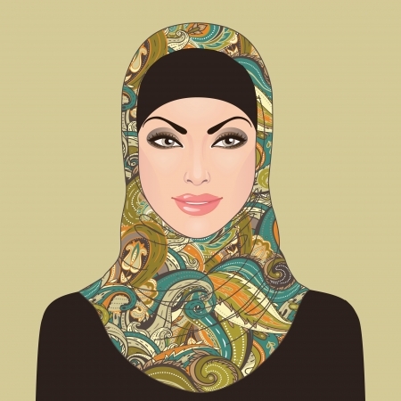 young asian girl: Portrait of  muslim beautiful girl in patterned hijab, vector illustration