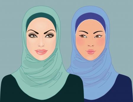 muslim fashion: Portrait of  muslim beautiful girl in patterned hijab, vector illustration