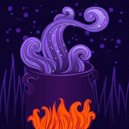 springe: Halloween illustration: witches cauldron in vector