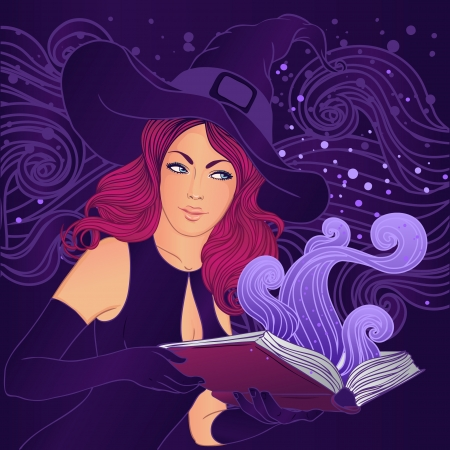 Halloween illustration: young pretty witch with a magic book  Vector