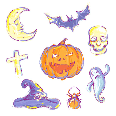 collection of hand drawn Halloween icons. Vector
