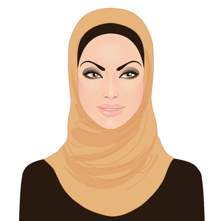 Portrait of muslim beautiful girl in hijab, vector illustration  Vector