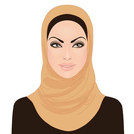 hijab: Portrait of muslim beautiful girl in hijab, vector illustration  Illustration