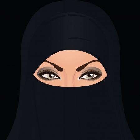 burqa: Beautiful dark eyed woman in traditional middle eastern niqab veil