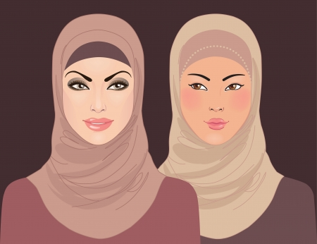 Portraits of two muslim beautiful girls in hijab, vector illustration  Vector