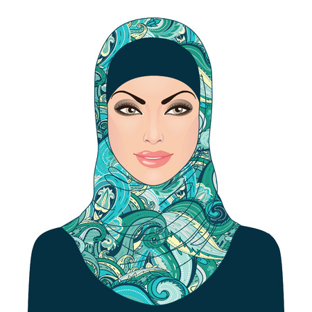 Portrait of  muslim beautiful girl in patterned hijab, vector illustration