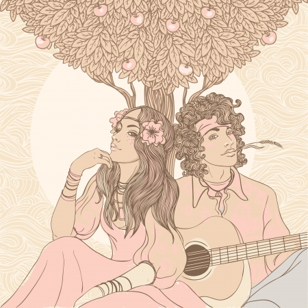 Couple of a hippy on a sunny afternoon, vector illustration  Vector