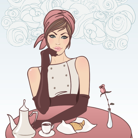 Beautiful brunette girl in the street cafe in the old city drinking coffee. Vector illustration.  Vector