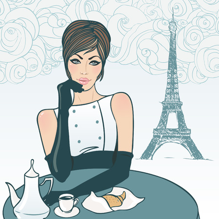 Beautiful brunette girl in the street cafe in Paris drinking coffee. Vector illustration. Ilustração