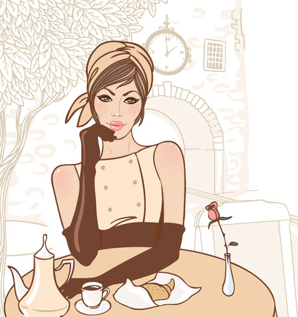 Beautiful brunette girl in the street cafe in the old city drinking coffee. Vector illustration.  Ilustração