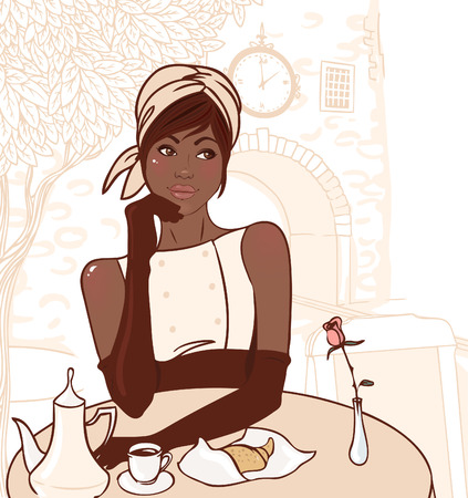 american table: Beautiful african american girl in the street cafe in the old city drinking coffee. Vector illustration. Illustration