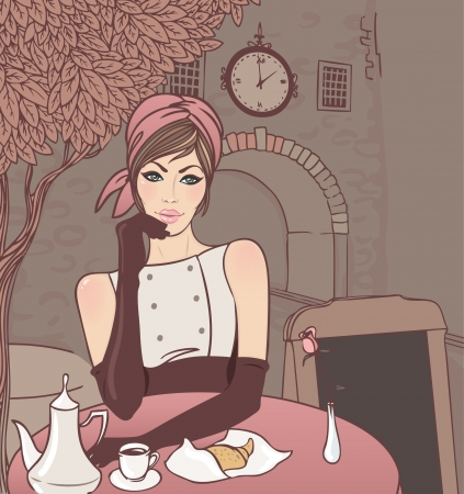 vintage look: Beautiful brunette girl in the street cafe in the old city drinking coffee. Vector illustration. Illustration