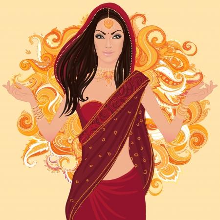 Mooie Indiase vrouw het dragen van bruids-outfit op wit Vector Illustratie