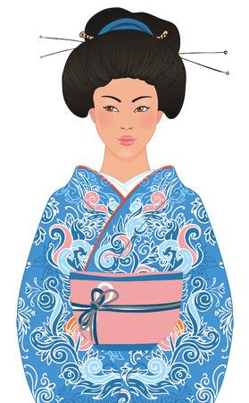 donna giapponese: Bella donna giapponese in kimono (abito tradizionale), isolato su sfondo bianco