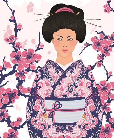 donna giapponese: Bella donna giapponese in kimono (abito tradizionale), il floreale rosa sakura sfondo